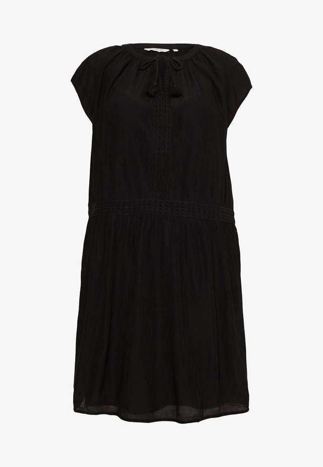 DRESS WITH DECO TAPES - Day dress - deep black