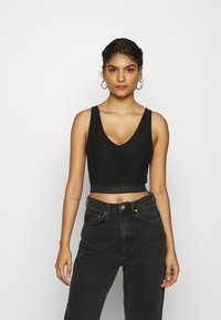 Calvin Klein Jeans - LOGO TAPE CROPPED - Top - black - 0