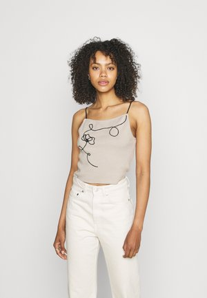 LINE DETAIL CAMI CROPPED - Top - beige