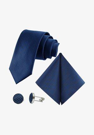 MORENO CRAVATTA 3SET  - Pocket square - schwarz  royalblau ultramarin blau punkte