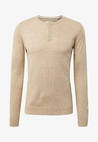 TOM TAILOR - MIT HENLEY KRAGEN - Sweatshirt - beige - 0