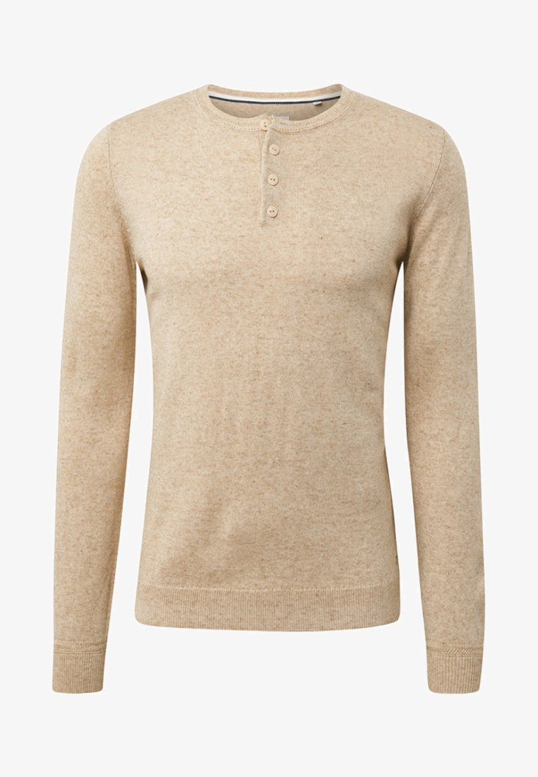 TOM TAILOR - MIT HENLEY KRAGEN - Sweatshirt - beige