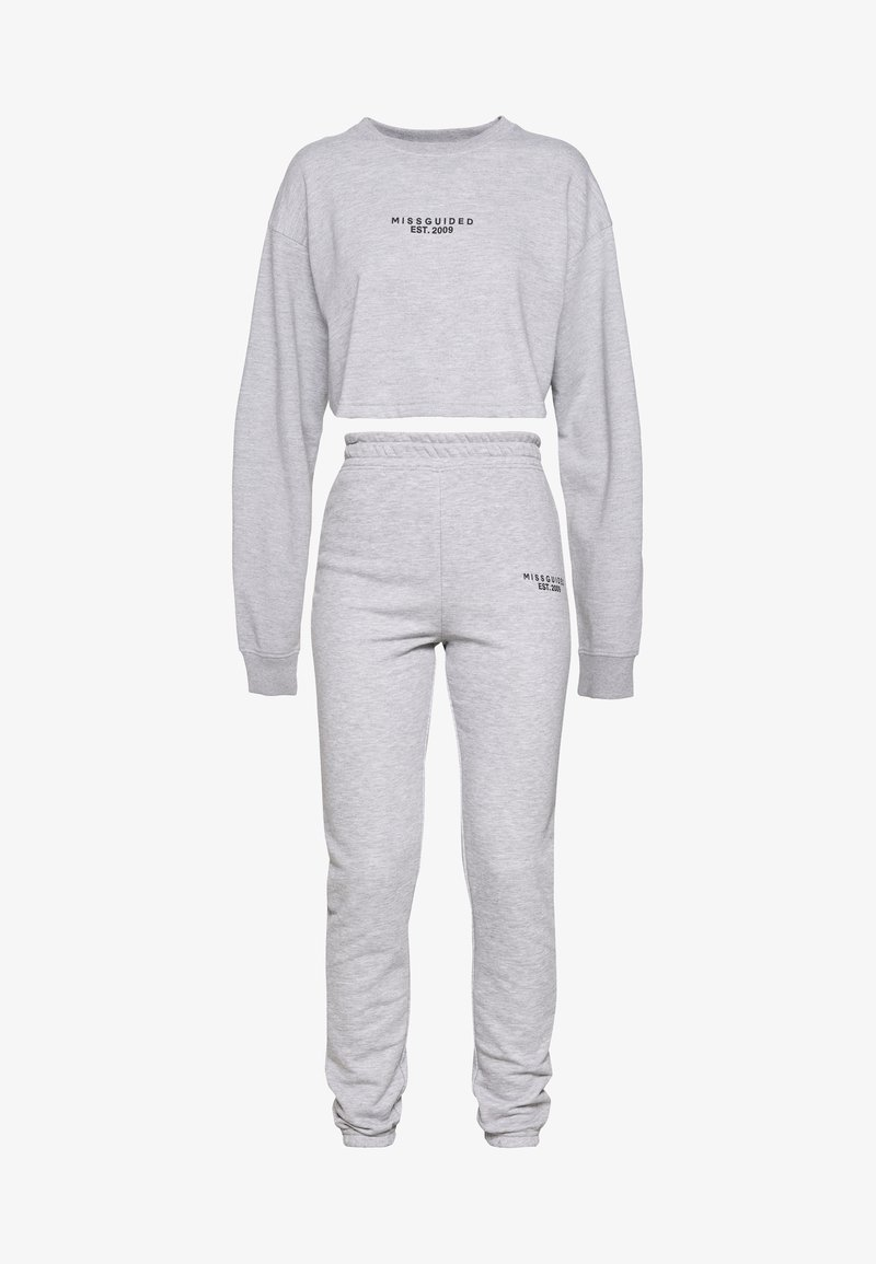 Missguided Tall - CROP AND JOGGER SET - Sweatshirt - grey marl