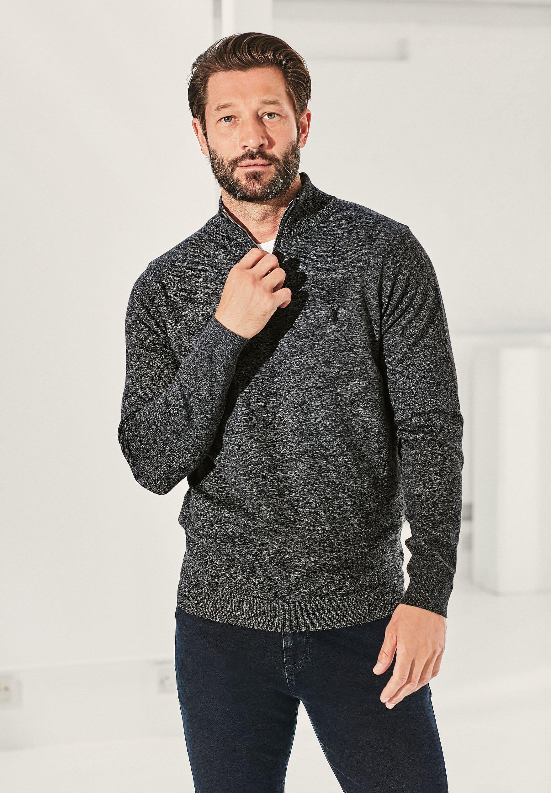 Homme MARL ZIP NECK - Pullover