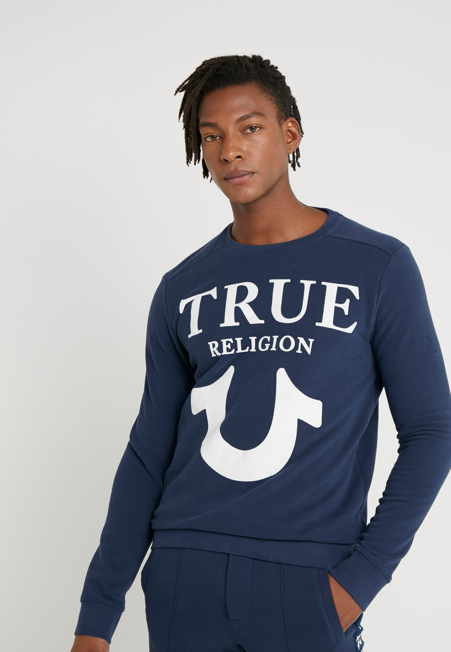 True Religion CREW LOGO PUFFY - Sweater - dark blue  Heren Truien & vesten 7zfJf