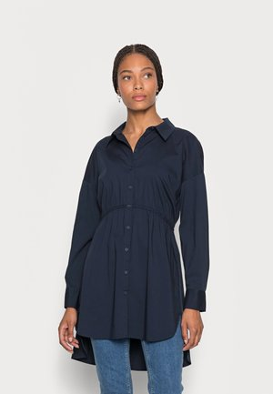 LONG SHIRT WITH RUCHING DETAIL - Button-down blouse - sky captain blue