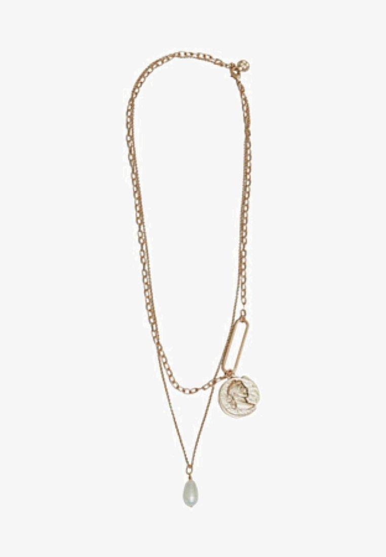 Massimo Dutti - MIT MÜNZE UND PERLE - Necklace - gold
