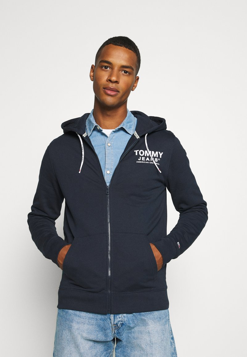 Tommy Jeans - ESSENTIAL GRAPHIC ZIPTHROUGH - Collegetakki - twilight navy