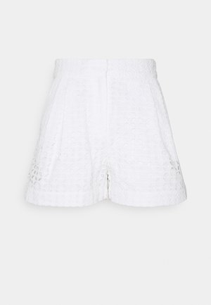 EYELET PLEATED - Kraťasy - white