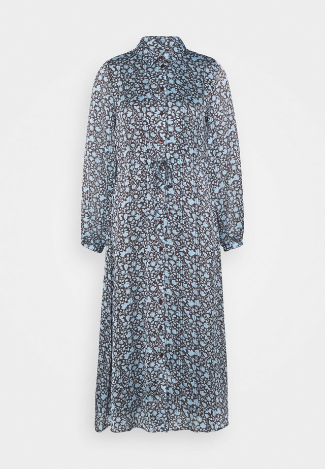 MIDI DRESS - Skjortekjole - dark chocolate/ice blue