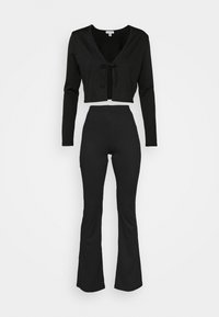 Topshop - FLARE AND TIE FRONT SET - Cardigan - black - 0