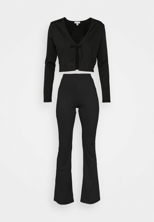 FLARE AND TIE FRONT SET - Cardigan - black
