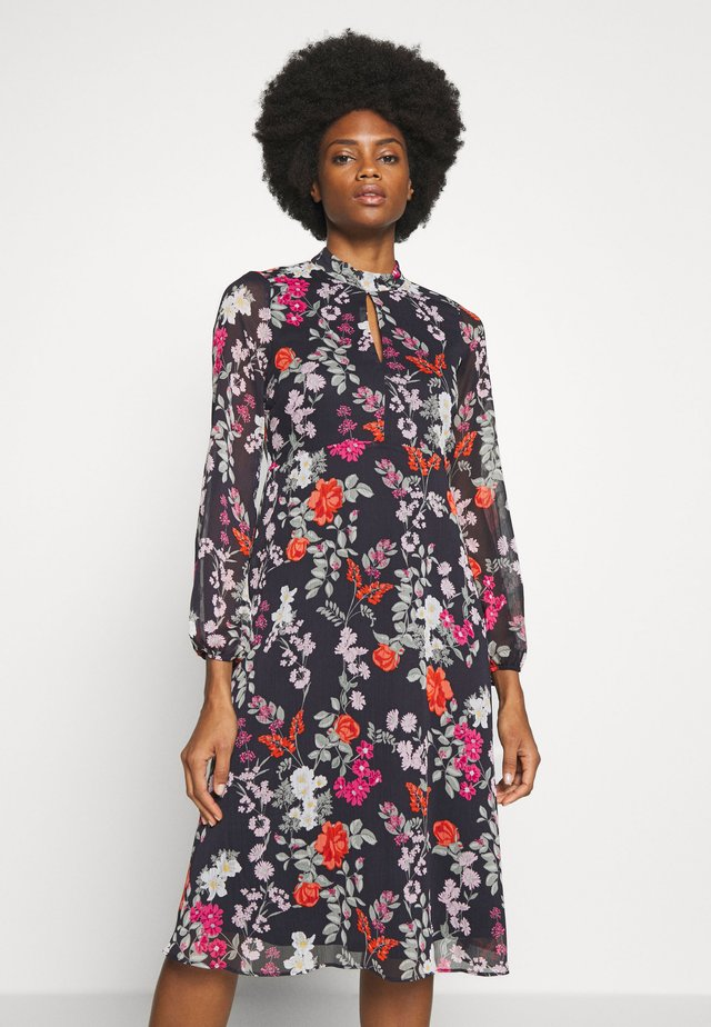 WINTER BLOSSOM KEYHOLE MIDI DRESS - Vapaa-ajan mekko - black