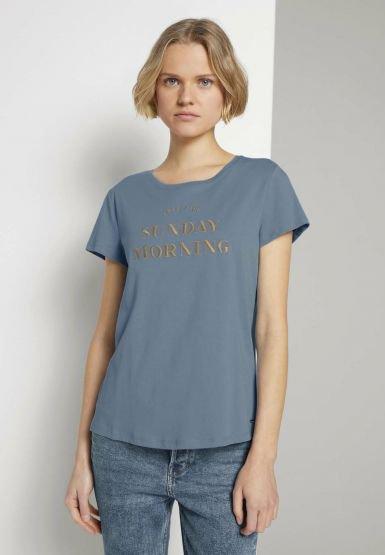 BASIC EMBRO TEE - T-shirt z nadrukiem - soft mid blue