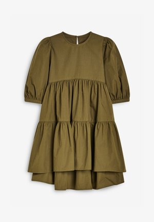TIERED PUFF SLEEVE - Day dress - olive