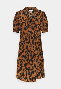 Noisy May Petite - NMLESLEY WRAP DRESS PETITE - Day dress - brown sugar/black - 4