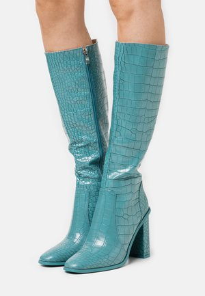 CELENI - Boots med høye hæler - turquoise