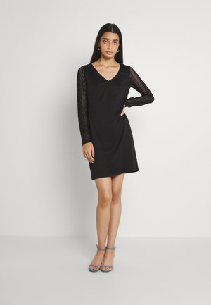 VIJENNIE V NECK MIXED DRESS - Jersey dress - black