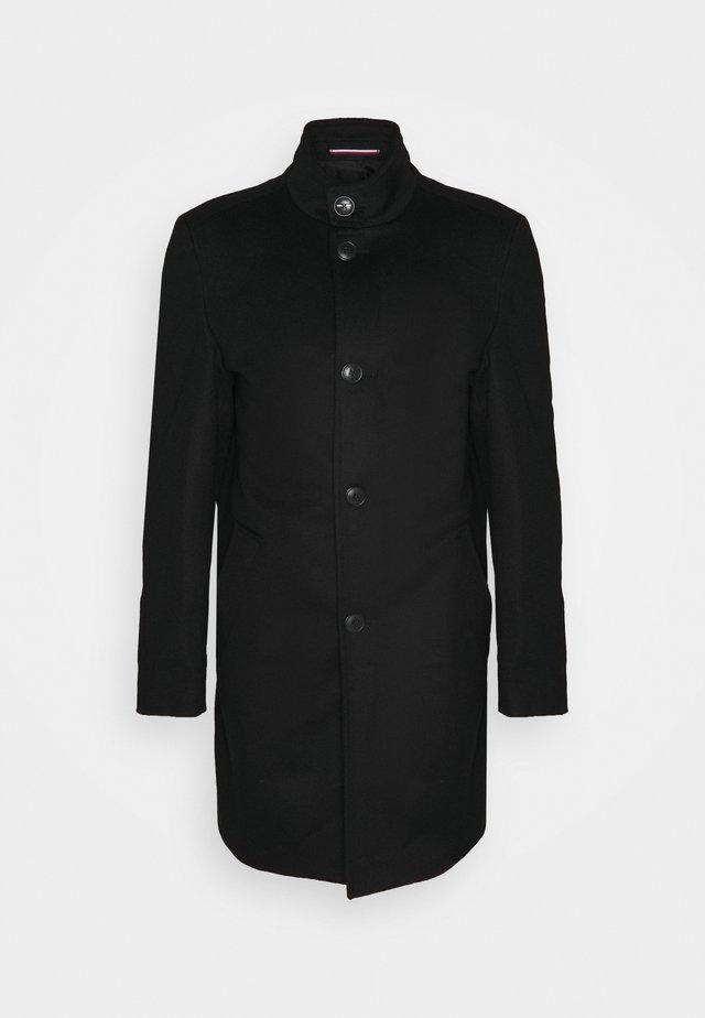 SOLID STAND UP COLLAR COAT - Manteau classique - black