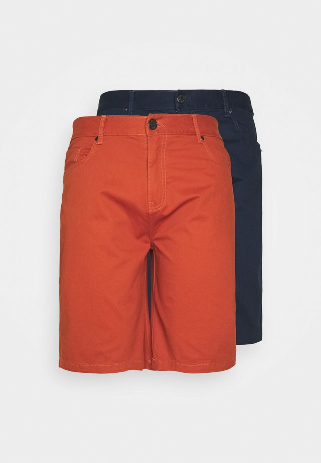 BIG TALL 2 PACK - Shorts - navy/cognac