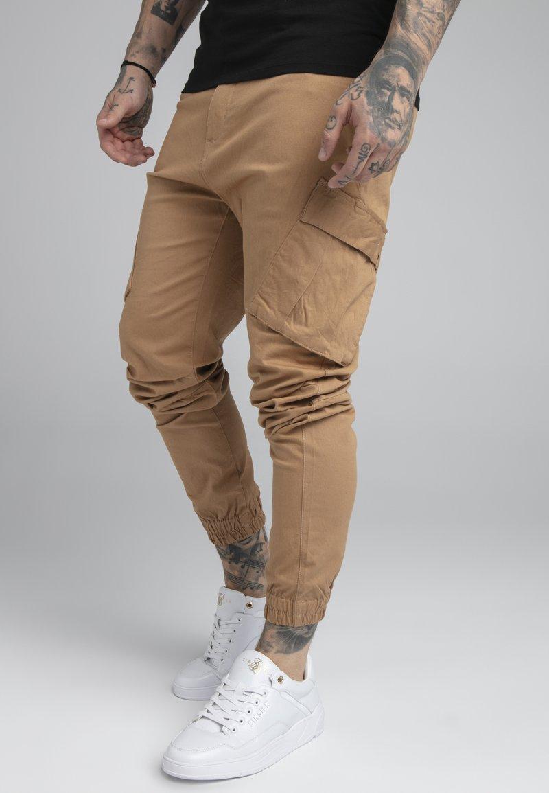 SIKSILK - ELASTIC CUFF PANT - Cargobyxor - beige