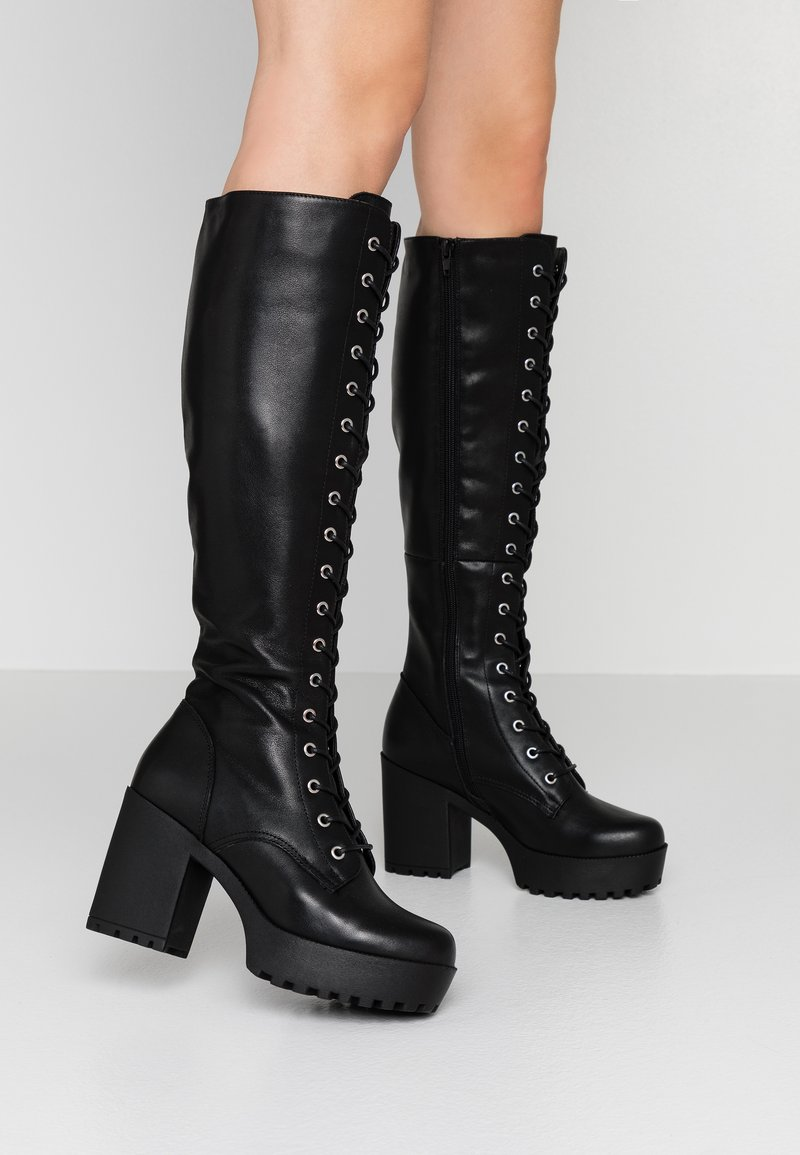 Even&Odd - LEATHER PLATFORM LACEUP BOOT - Boots med høye hæler - black