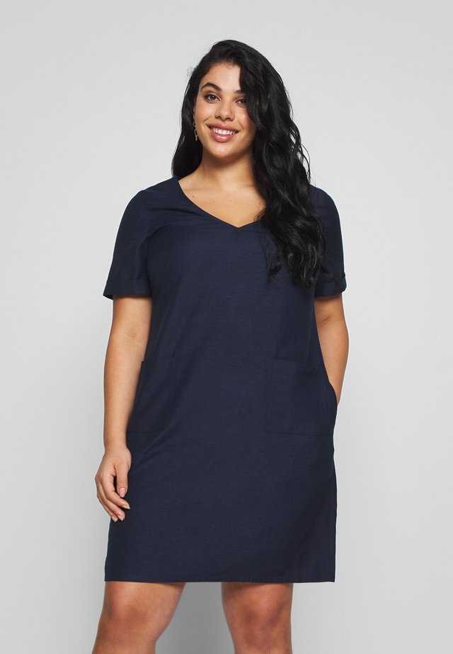 SHORT SLEEVE V NECK SHIFT DRESS - Day dress - navy