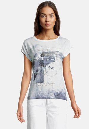 HALBARM MIT AUFDRUCK - T-shirts print - weiß/blau