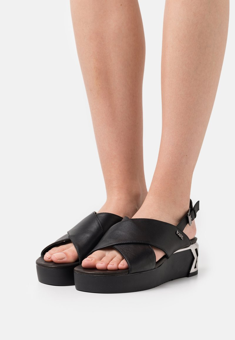 KARL LAGERFELD - K-BLOK WEDGE KROSS STRAP SLING - Sandalias con plataforma - black