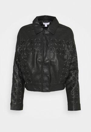 LACE UP JACKET - Faux leather jacket - black