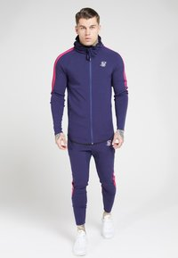 SIKSILK - FADE PANEL ZIP THROUGH HOODIE - Hoodie met rits - navy / neon fade - 3