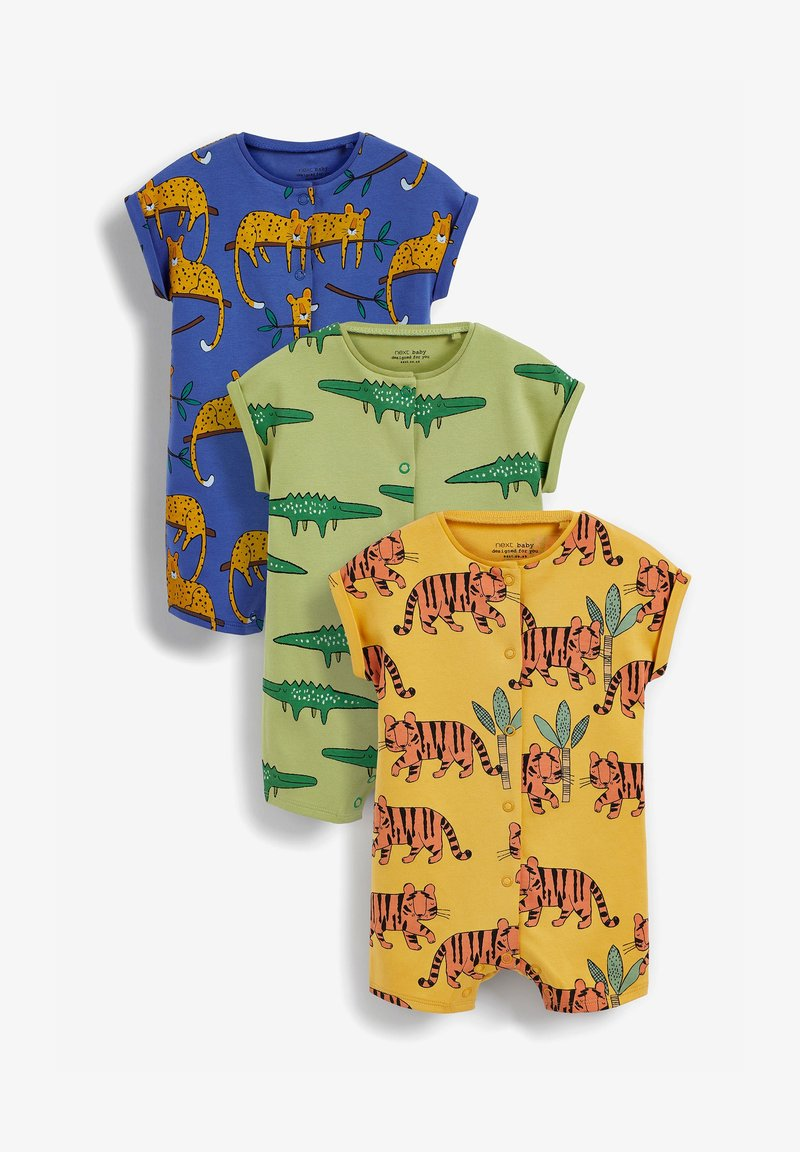 Next - 3 PACK PRINTED POPPER - Jumpsuit - green yellow blue