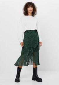 Bershka - MIT PRINT  - A-line skirt - black - 1
