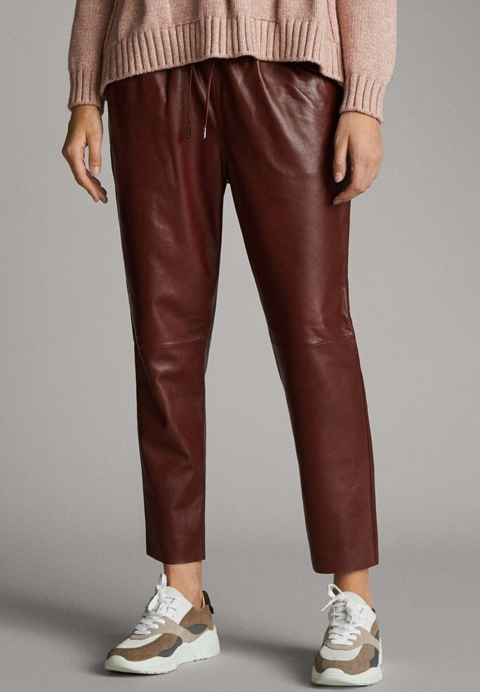 Massimo Dutti - Leather trousers - bordeaux