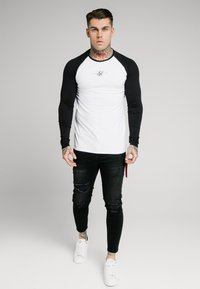 SIKSILK - SQUARE HEM TEE - Longsleeve - black/white - 0