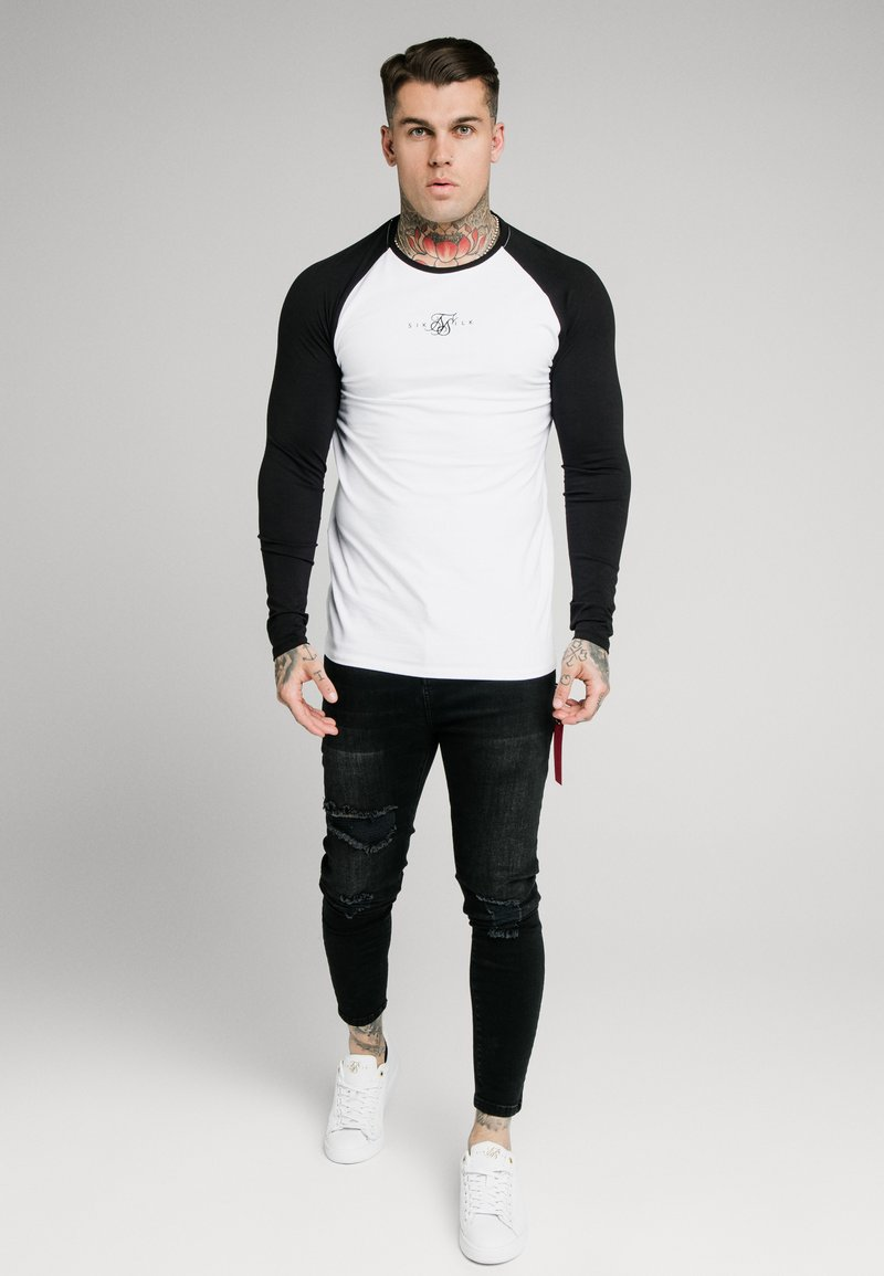 SIKSILK - SQUARE HEM TEE - Longsleeve - black/white