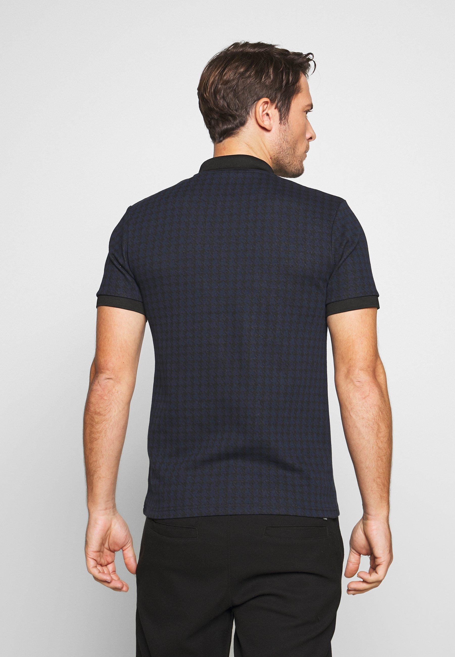 Burton Menswear London DOGTOOTH  - Koszulka polo - navy - Odzież męska Tani