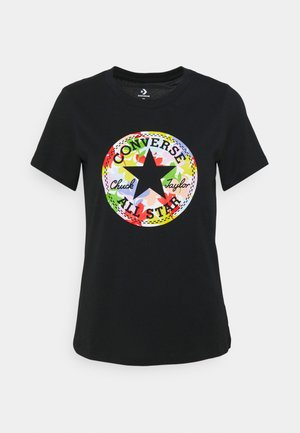 FLOWER PATCH GRAPHIC TEE - T-shirt imprimé - black
