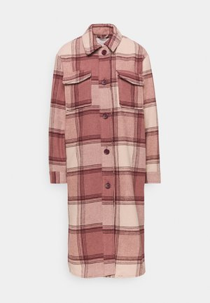 JDYUMALA CHECK JACKET - Klassisk kåpe / frakk - withered rose/brazilian sand/tan
