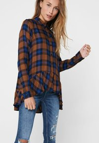 JDY - JDYSTAY HIGH LOW SOLID - Button-down blouse - leather brown - 3