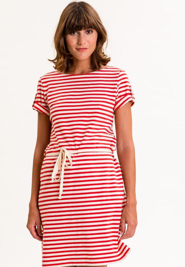 MARLISINA - Jersey dress - rot weiß gestreift