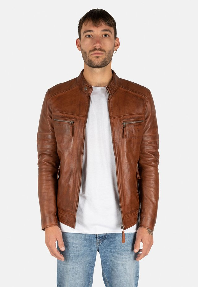 Leren jas - cognac brown