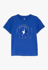Converse - CHUCK PATCH SHINY TEE - Print T-shirt - blue - 0