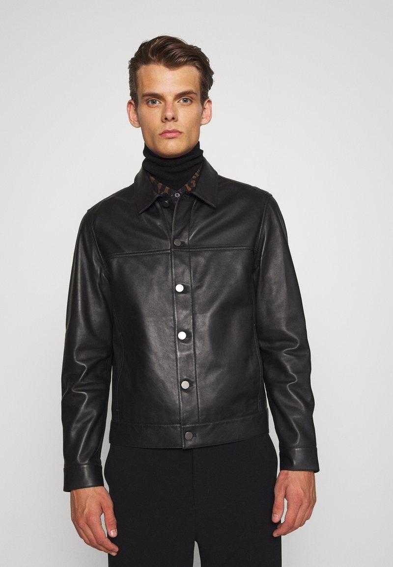 Theory - PATTERSON LEATHER OVERSHIRT - Leather jacket - black