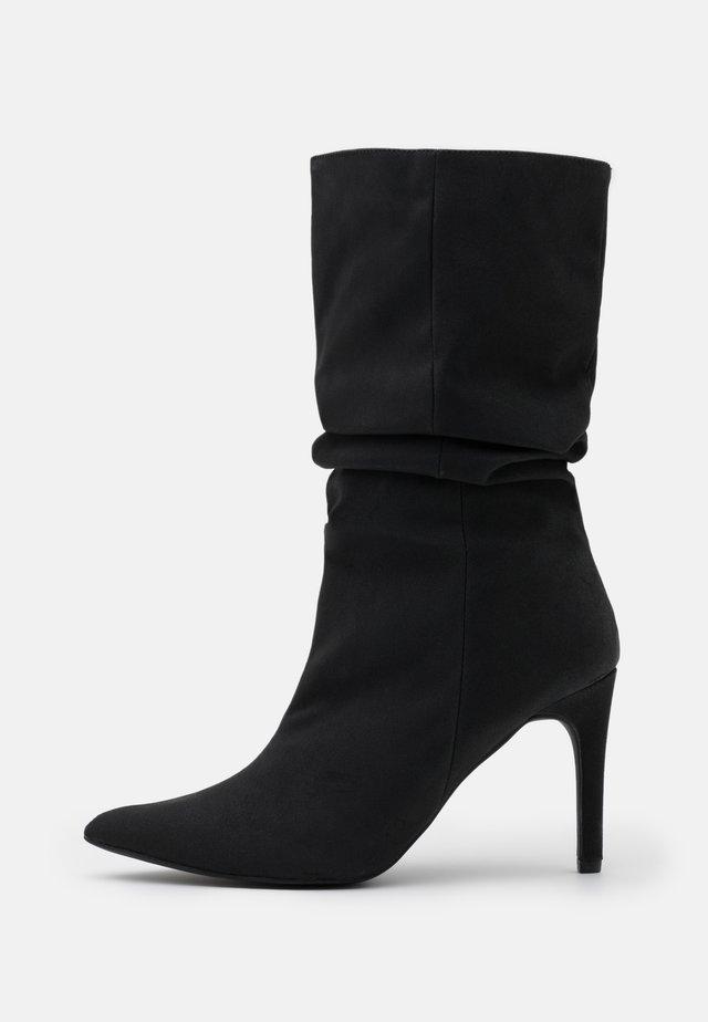 RUCHED STILLETO BOOTS - Boots - black