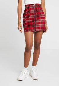 Urban Classics - LADIES SHORT CHECKER SKIRT - Mini skirt - red/black - 0