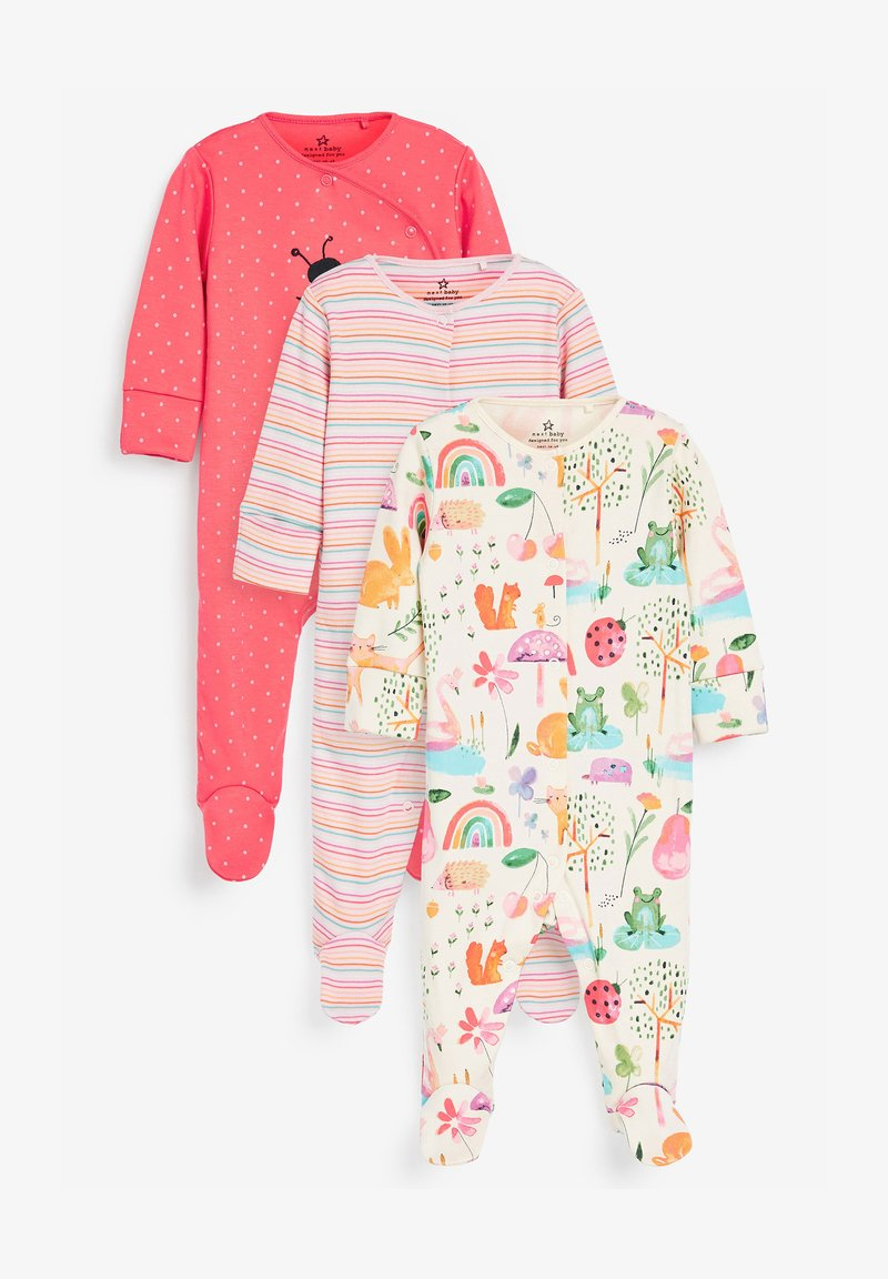 Next - 3 PACK LADYBIRD STRIPE - Sleep suit - pink