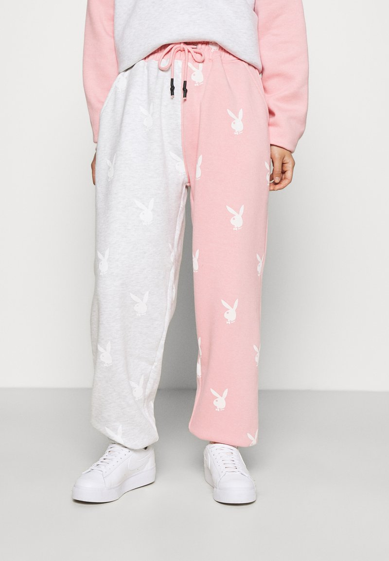 Missguided Petite - PLAYBOY JOGGERS - Tracksuit bottoms - grey