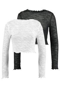 Missguided Tall - TEXTURED LETTUCE LONG SLEEVED 2 PACK - Bluzka z długim rękawem - white/black - 0