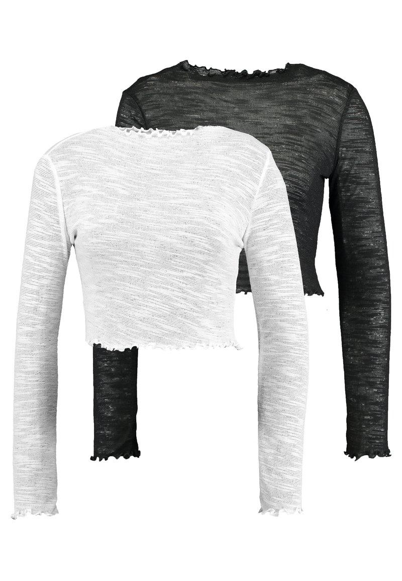 Missguided Tall - TEXTURED LETTUCE LONG SLEEVED 2 PACK - Bluzka z długim rękawem - white/black